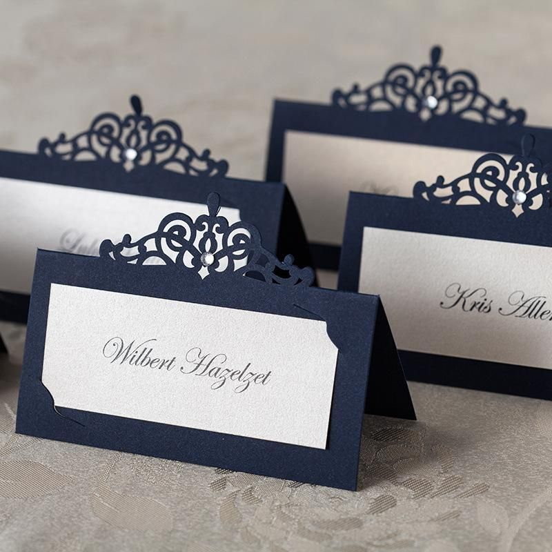 Wishmade Personalized Navy Blue Laser Cut Wedding Place Card With Rhinestone Decoration Name For Party Event Small Favors Unique Favor Ideas