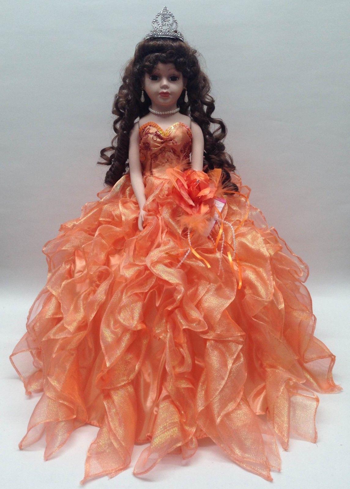 NEW Orange 20 inch 15 XV Anos Quinceanera Ruffle Dress