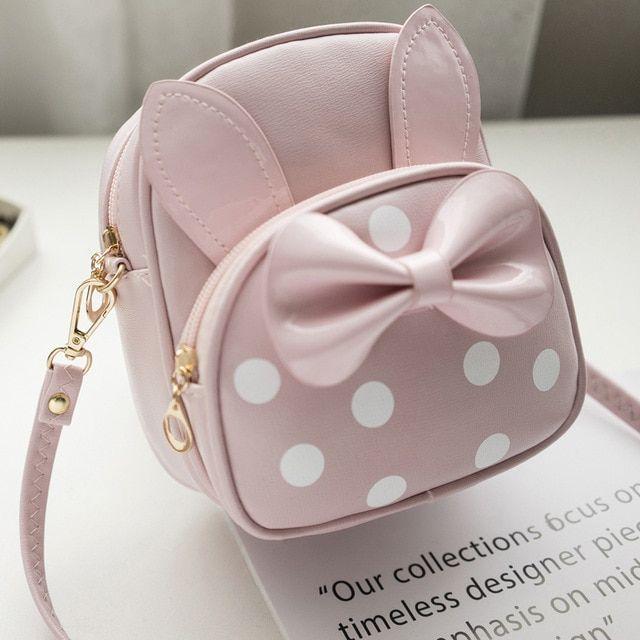 040c2292202e Rabbit Ears Small Backpacks Female School Bags for Teenage Girls Black Pink  PU Leather Women Backpack Shoulder Bag Purse Mochila Review