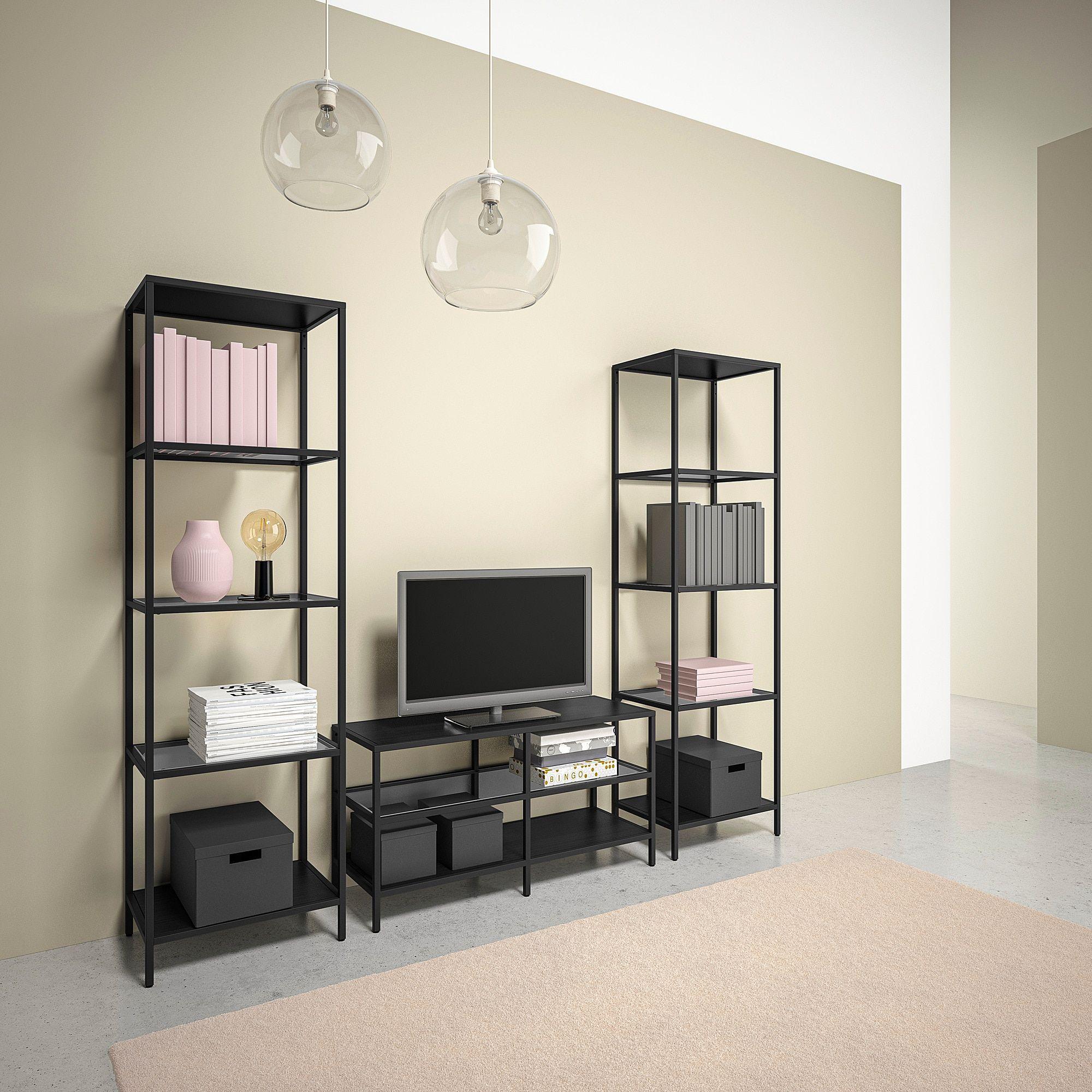 Vittsjo Tv Storage Combination Black Brown Glass 202x36x175 Cm Ikea Meuble Tv Rangement Ikea Meuble
