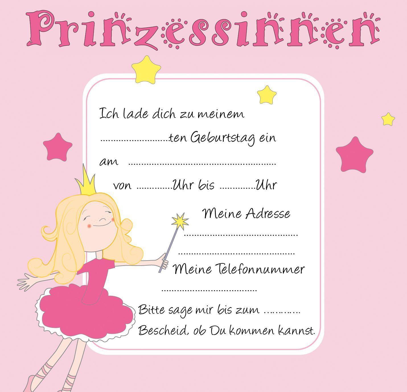 Einladungskarten Kindergeburtstag Vorlagen Prinzessin