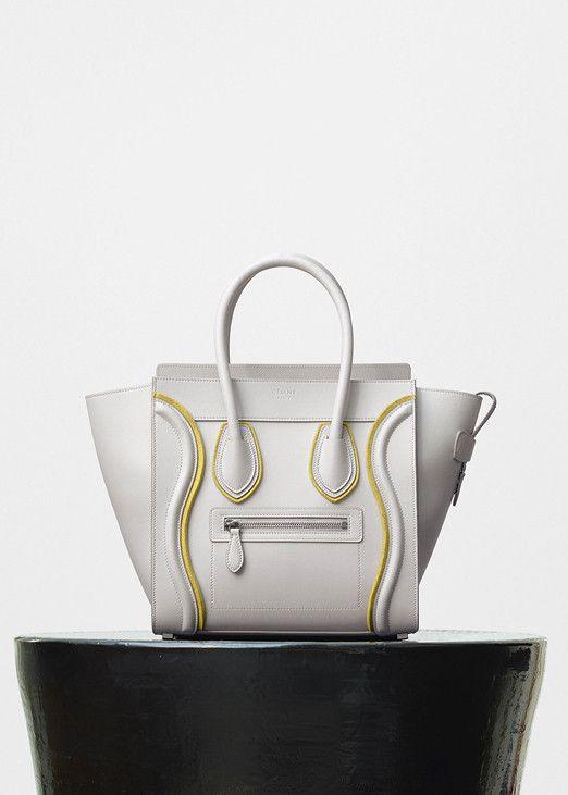 Micro Luggage Handbag In Smooth Calfskin And Felt Céline