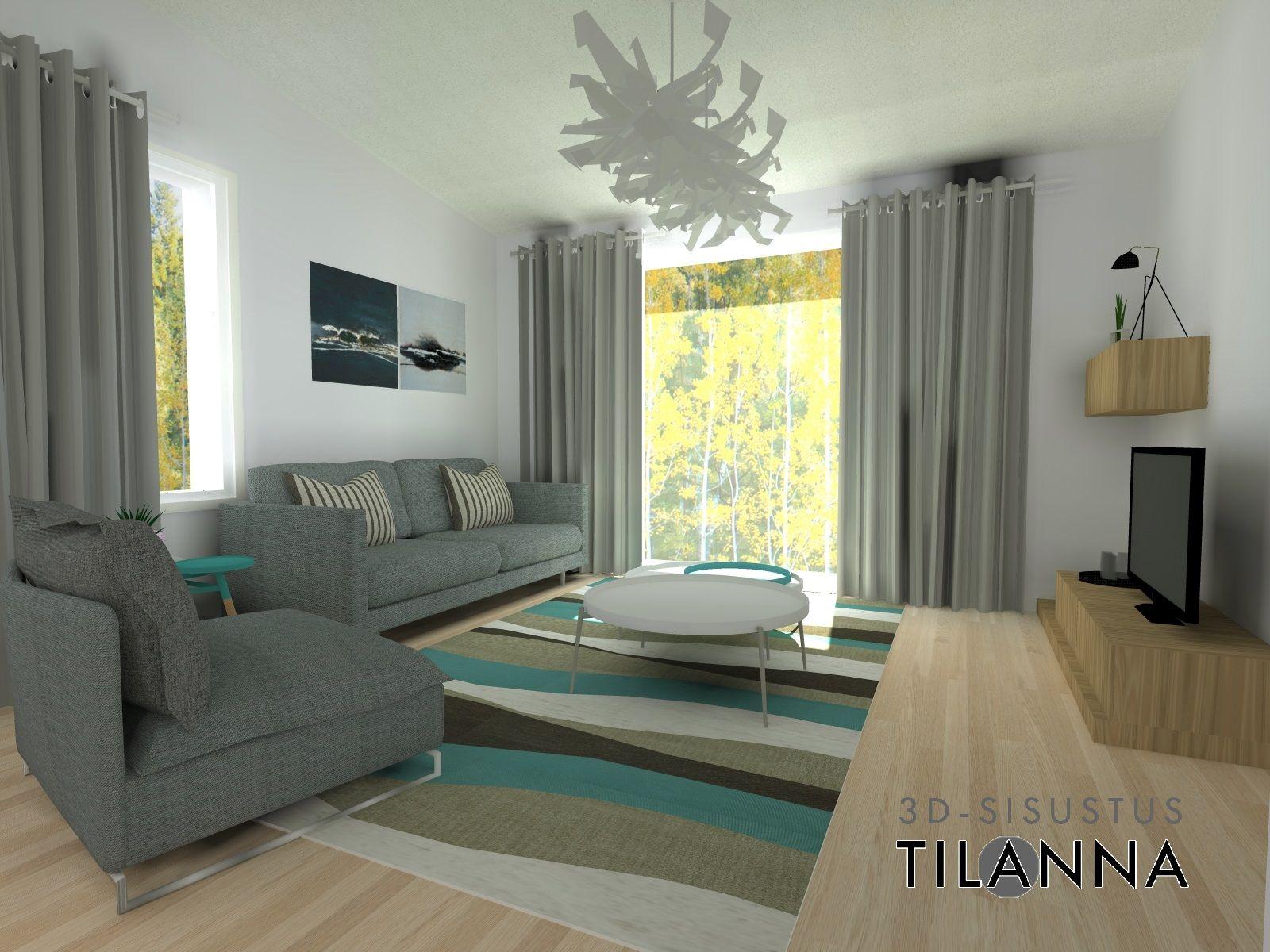 3D -stailaus ja -sisustussuunnittelu ennakkomarkkinoinnissa olevaan kohteeseen, Siilinjärvi / turkoosi moderni olohuone, valkovahattu tammilattia, turquoise modern living room / 3D-sisustus Tilanna