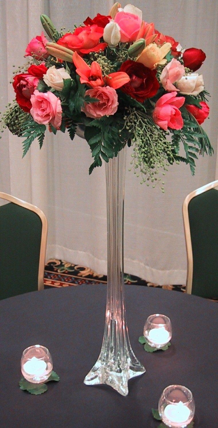 Centro De Mesa Flores Rojas Decoraci N Pinterest Flores  ~ Centros De Flores Naturales Para Mesas