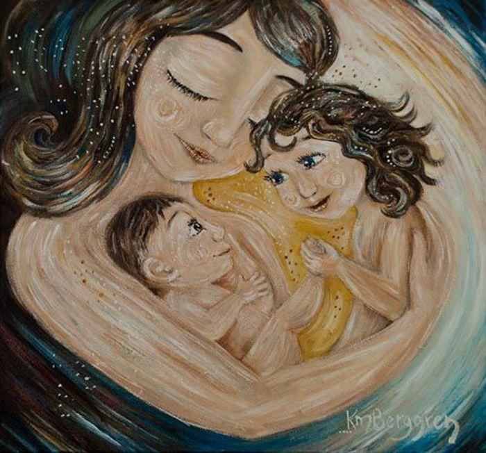 картинка мама с двумя сыновьями рисунок более, что
