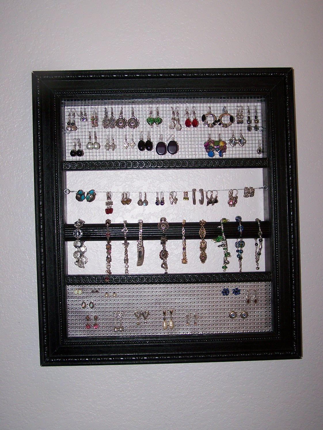 DIY Jewelry HangerOrganizer Construction mesh pierced aluminum