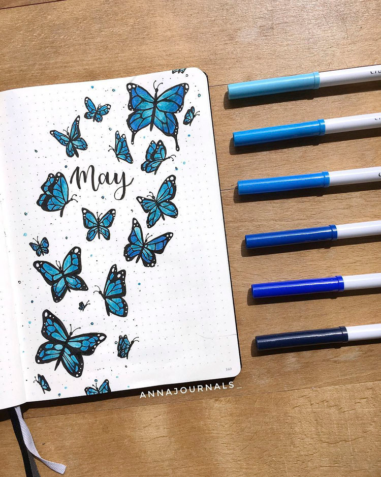 25 Bullet Journal Monthly Cover Ideas for May - Beautiful Dawn Designs
