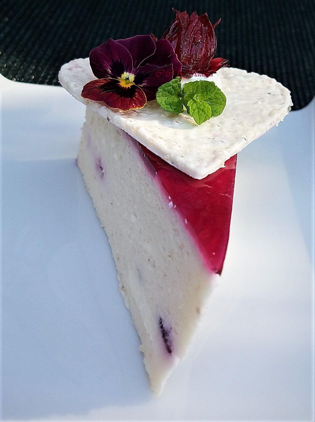 Lychee Cheesecake With Homemade Hibiscus Flowers In Rose Syrup