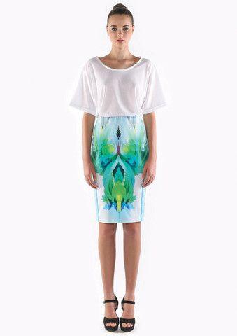 ringuet calypso knee length skirt - green/blue