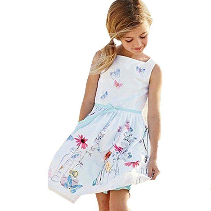 Kleid Mädchen 2018 Sommer Kinder Blumenkleid Schmetterling ...