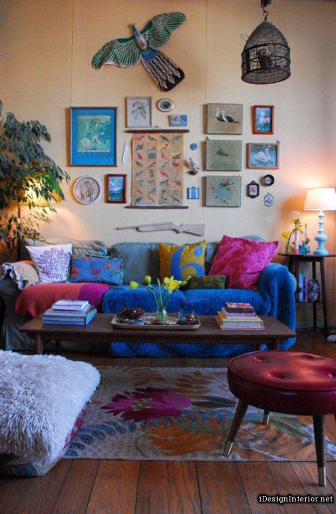Inspiring Beige Bohemian Living Room Design Inspiration With Light