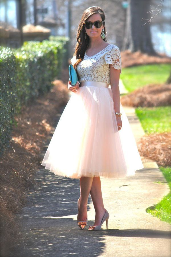 Pink Tulle Ballet Full Pleated Circle Flare Midi Knee Length High Waist Skirt S