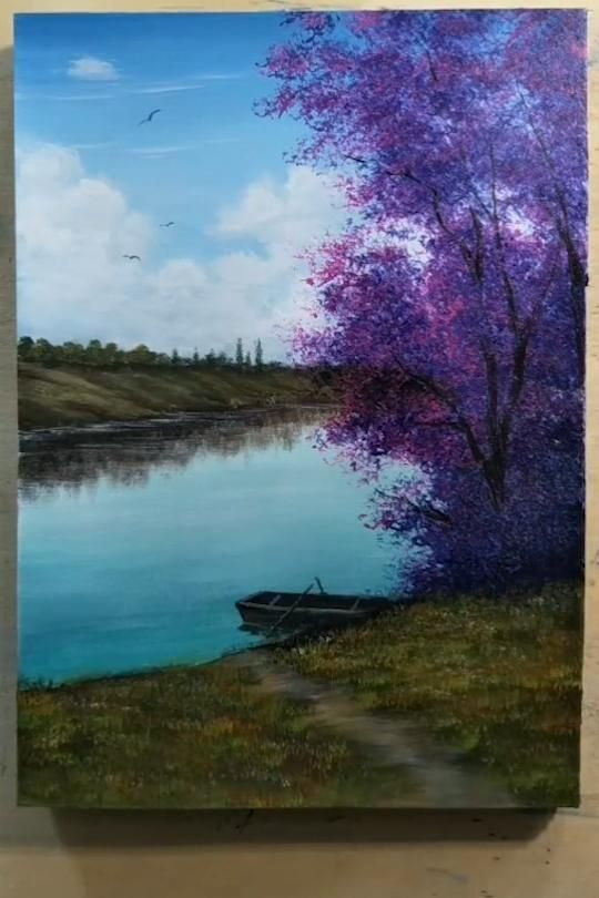 Photo of Acrylic Landscape Painting : A Boat Beside the River | step by step