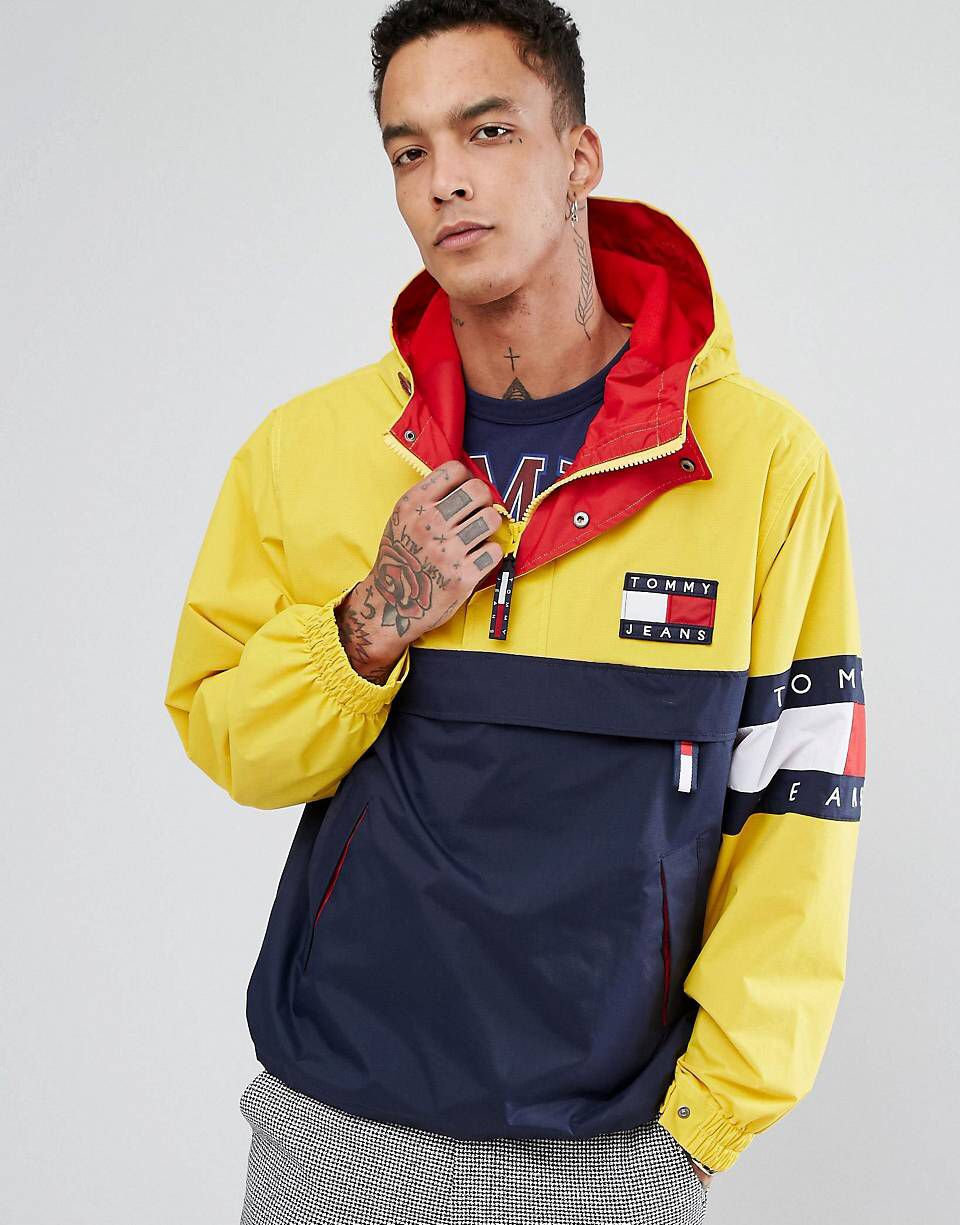 Tommy Jeans 90 s Capsule Overhead Jacket Colourblock in Navy Yellow ... f675b3032e9