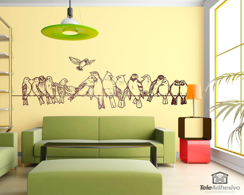 Vinilos Decorativos: Pájaros sobre el cable #vinilo #pared #cable ...