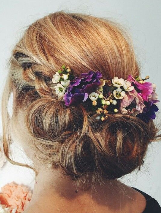 Wedding hair with flowers and braid - bridesmaids | h a i ...