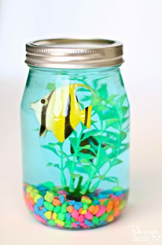Kids Crafts Ideas For Summer Part - 43: Mason Jar Aquarium Craft For Kids! Fun Summer Time Craft!