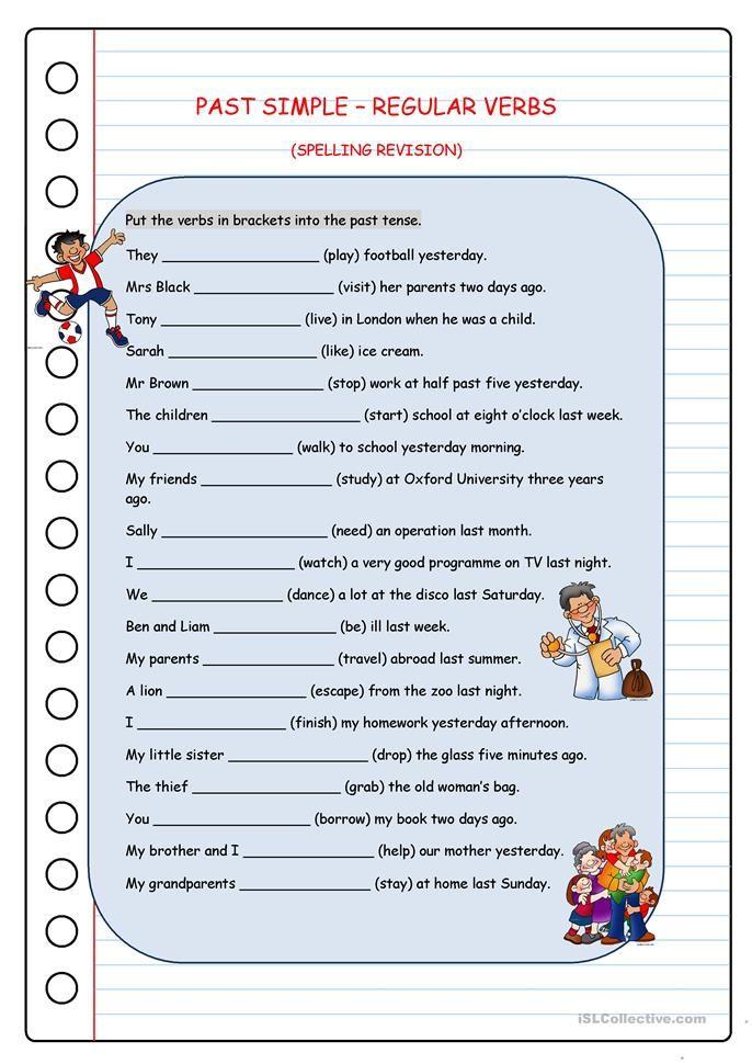 Past Simple Regular Verbs Escola Pinterest English