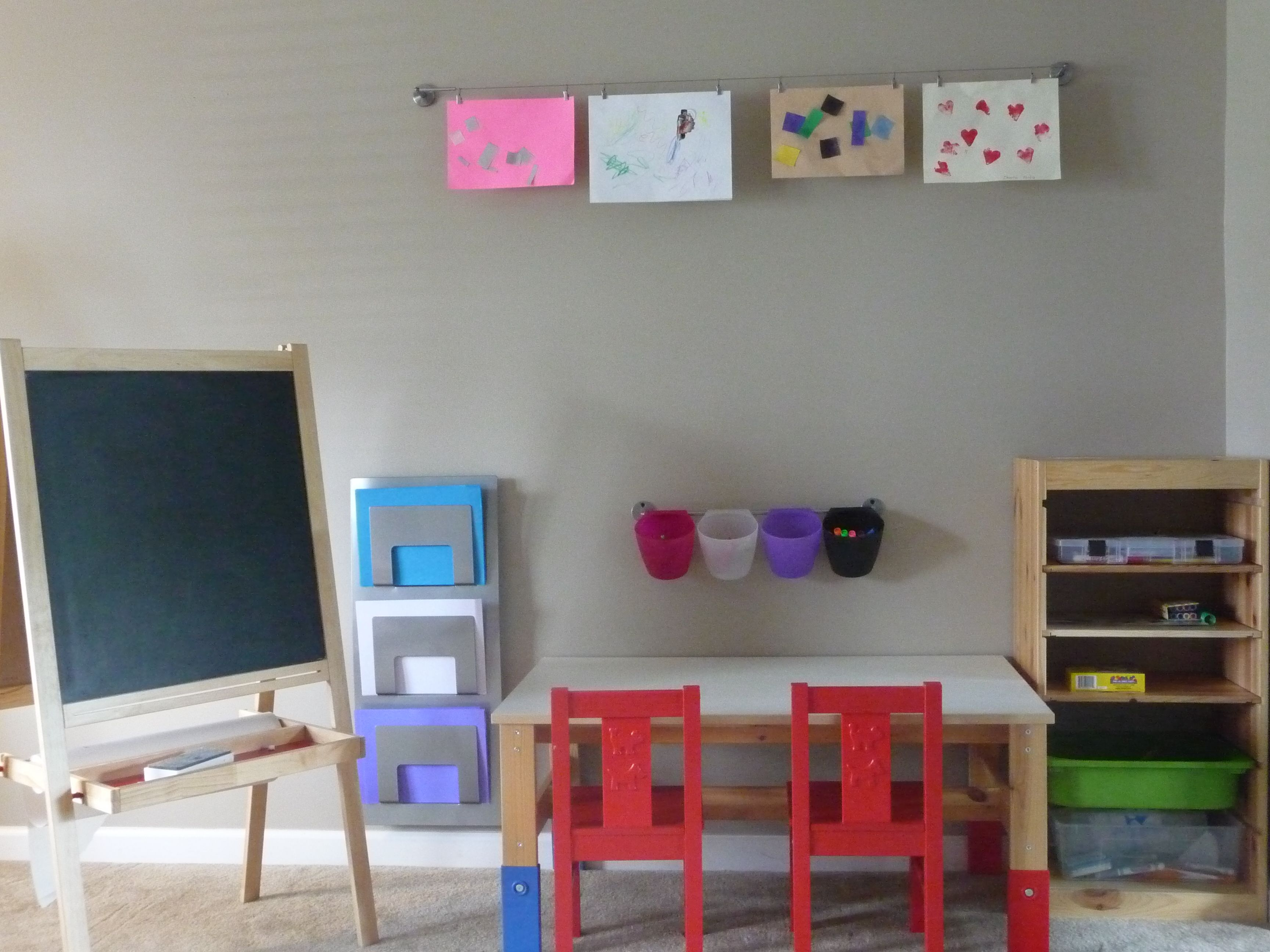 IKEA Art Center Trofast Storage, Sansad Table, Kritter Chairs, Dignitet  Curtain Wire And