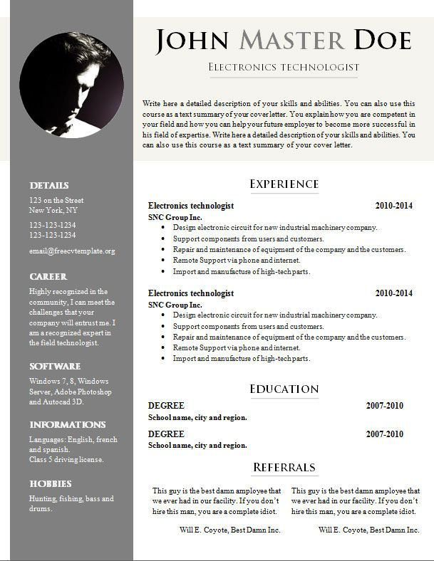 Superb Doc Resume Template Free Cv Template 681 687 Free Cv Template Dot Org  Download