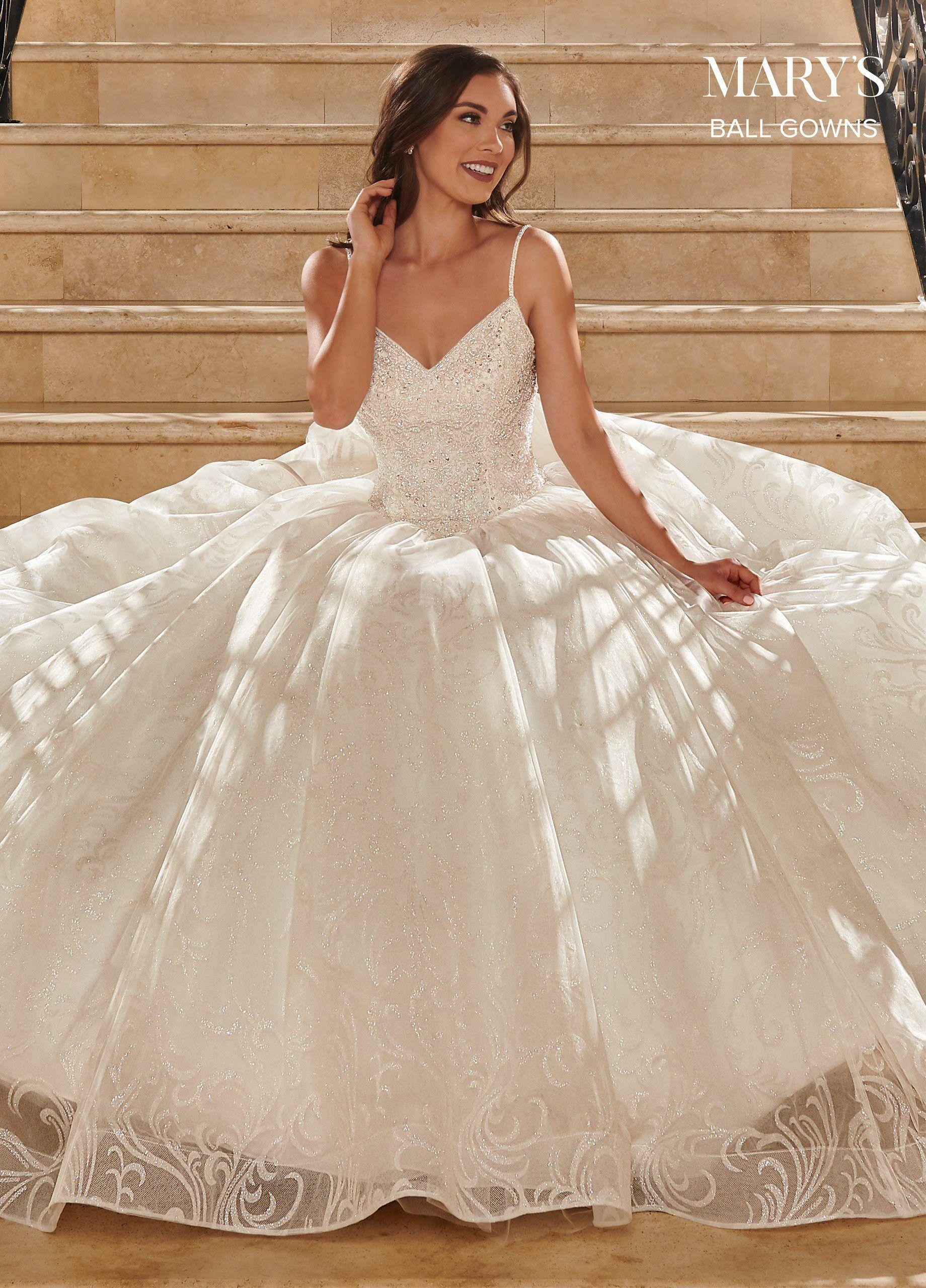 Robe de bal de mariage en tulle scintillant par Mary's Bridal MB6071 – 16 / ivoire   – Products