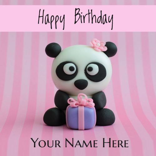 Happy Birthday Cute Panda Greeting Card With Your Name Happy