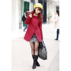 Specially Designed L Size Red Wool Long Sleeves Coat--Women's Coats $35.59