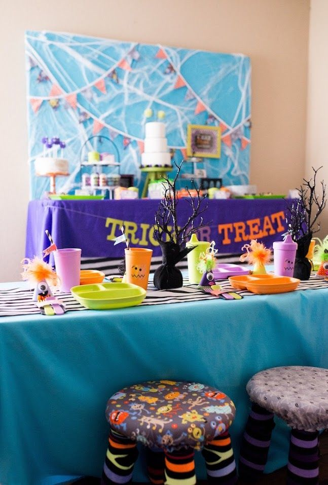 Party tables from a Monster Mash Halloween Party on Kara\u0027s Party - not so scary halloween decorations