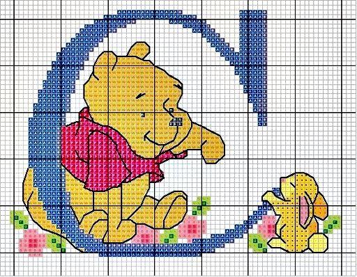 #Monograma Ursinho Pooh - letra C #bordado #CoatsCorrente