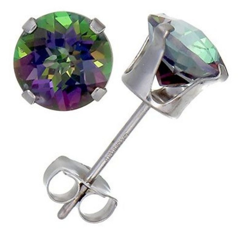 4mm 5mm 6mm 7mm 8mm 9mm 10mm Round Rainbow Mystic Topaz CZ Solid Stud Earrings 925 Sterling Silver Stud Post Earring