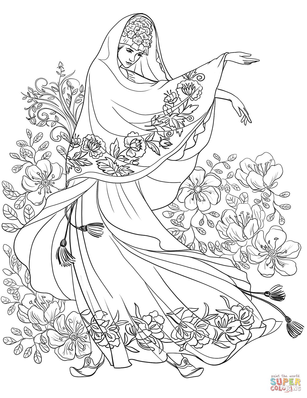 раскраска ближневосточная женщина с цветочным мотивом