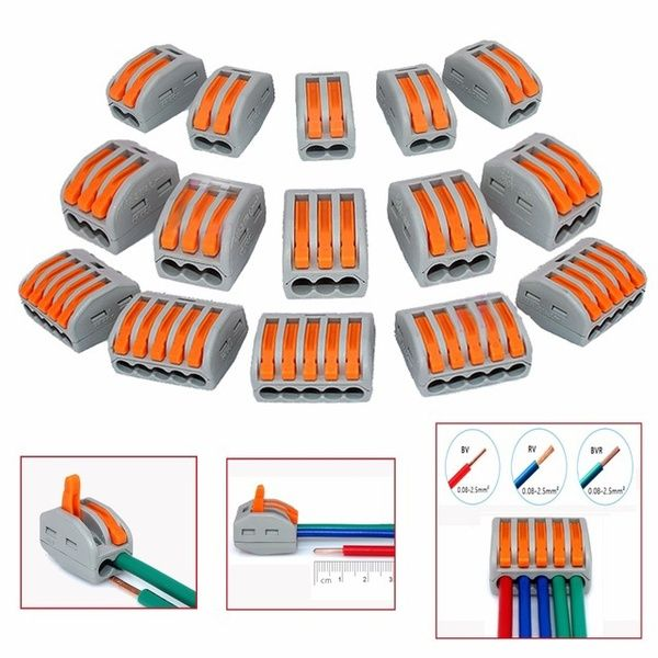 20Pcs 2//3//5 Way Spring Terminal Block Reusable Electric Cable Wire Connector 2 Ways