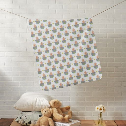 Baby Boy in Bathtub Patterened Pram Blanket. Designed by Cookies and Cards. #babyblankets #babygiftideas #newbabygifts