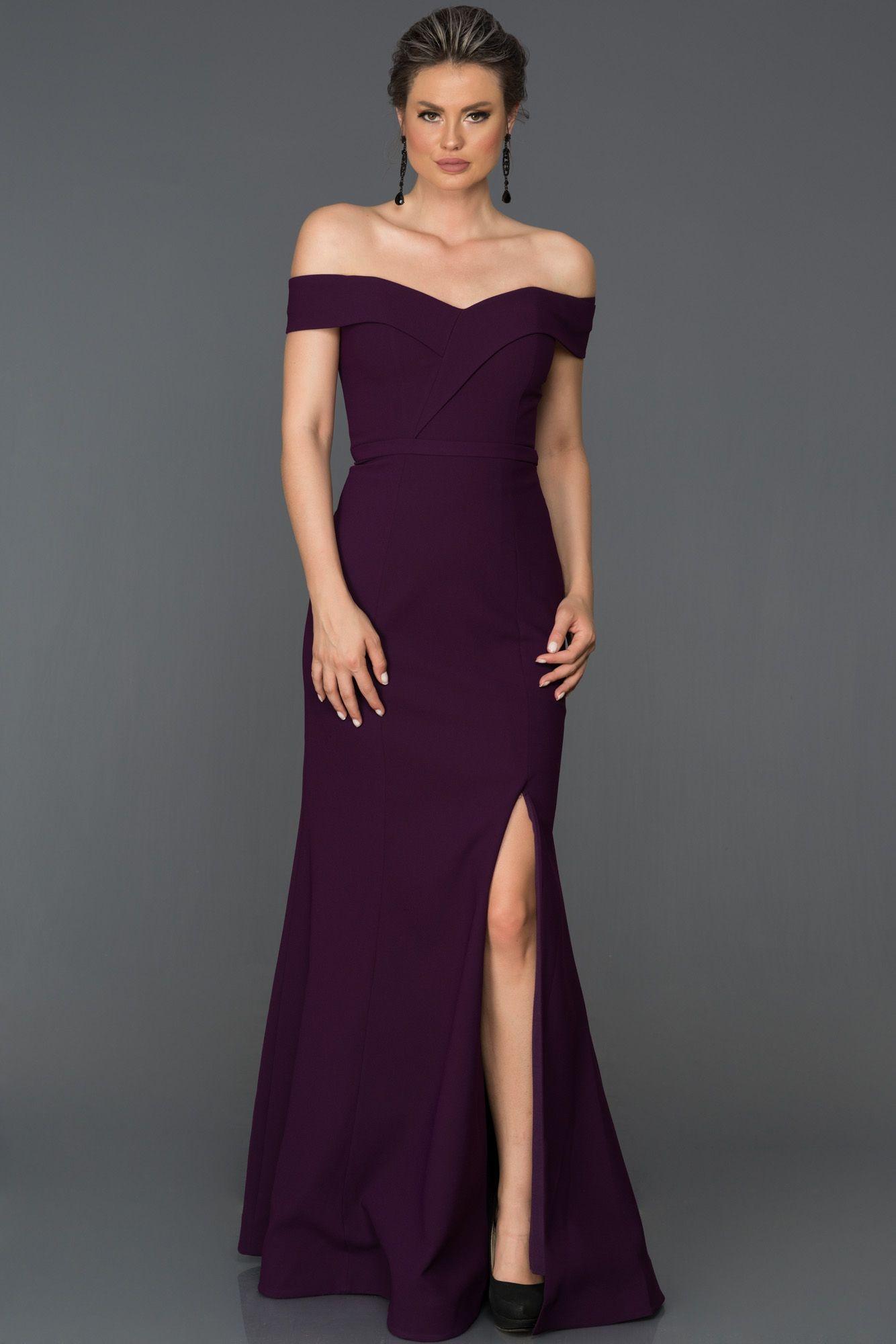 e7e573bdab970 Kayık Yaka Yırtmaçlı Abiye AB7108 | 2018 Abiye Elbise Modelleri ...