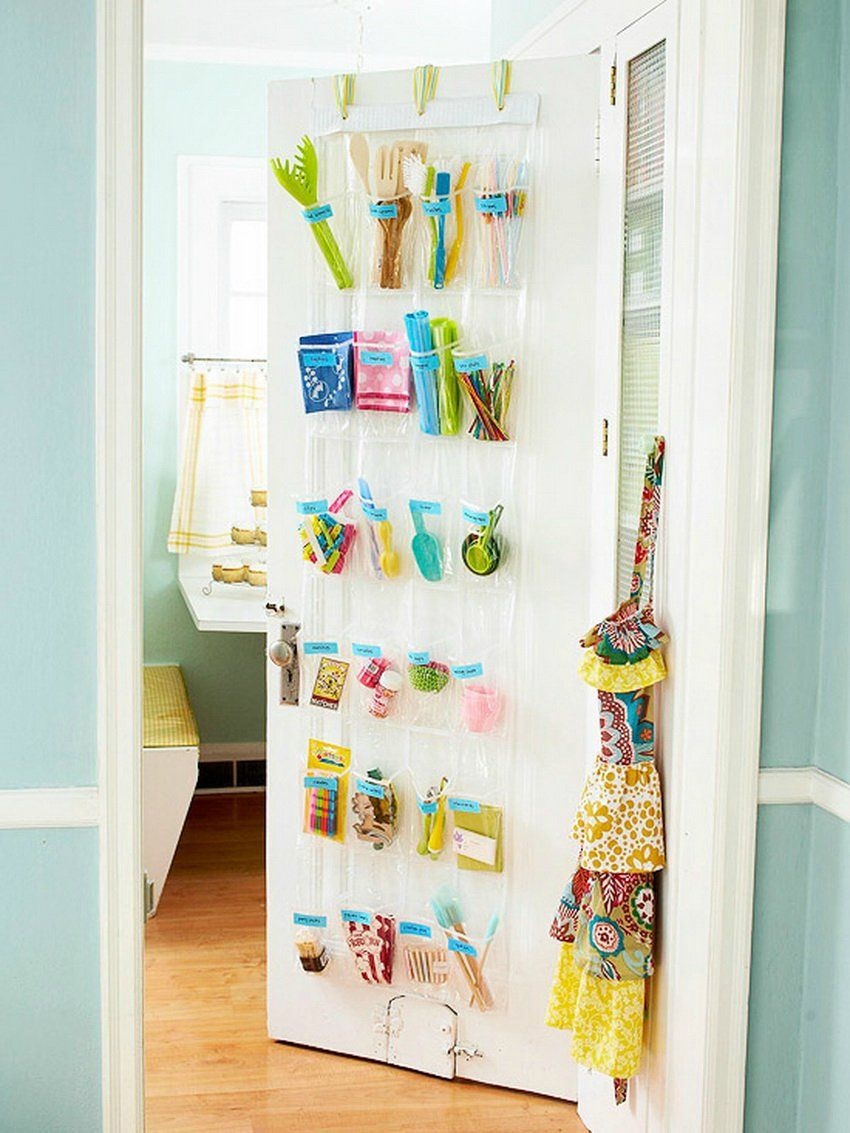 Hang A Clear Shoe Organizer On Your Pantry Door Label The Pockets