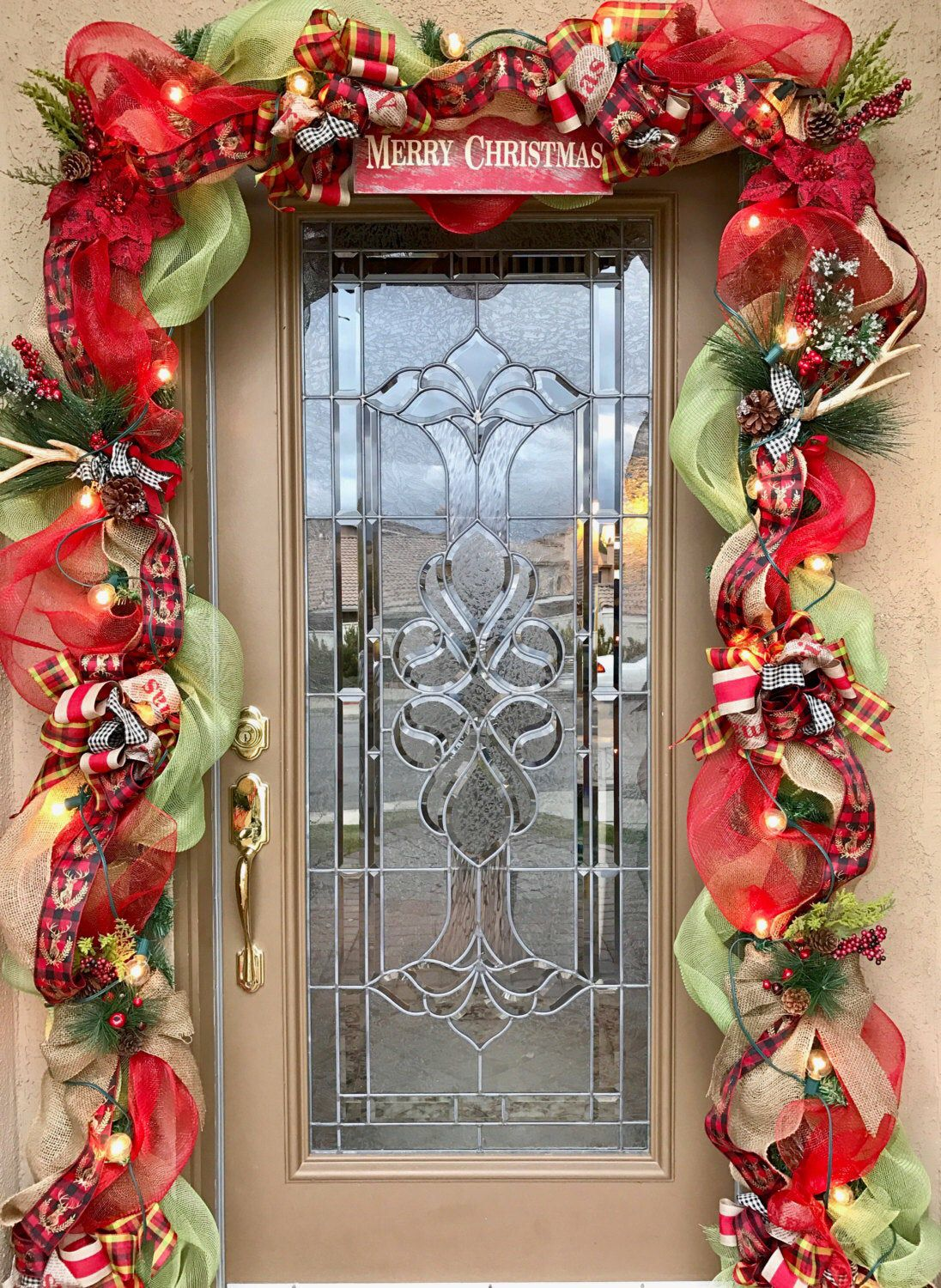 Rustic Christmas Garland With Lights Farmhouse Christmas Door Garland Rustic Christmas Door Swag Farmhouse Christmas Front Door Decor Christmas Lights Garland Diy Christmas Door Front Door Christmas Decorations