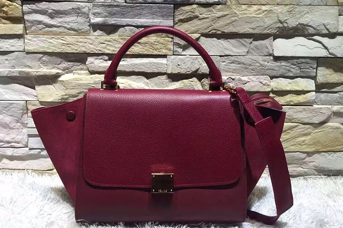 b90f8acc17 celine trapeze leather and suede bag burgundy bordeaux