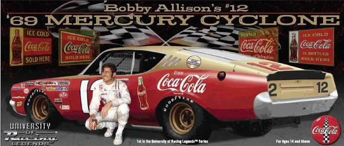 1969 BOBBY ALLISON #12 MERCURY CYCLONE *AUTOGRPHED* 1/24 UNIVERSITY OF RACING LEGENDS DIECAST