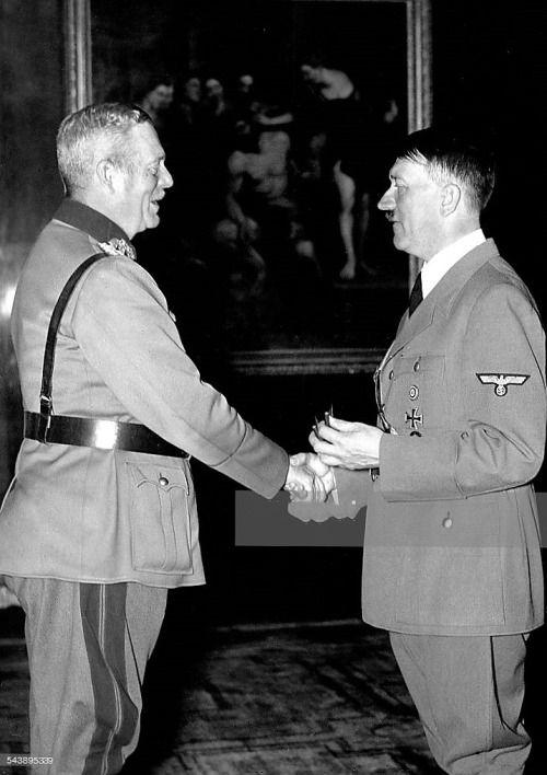 Hitler greeting General Keitel in October, 1939. Keitel was hanged in 1946 for war crimes.