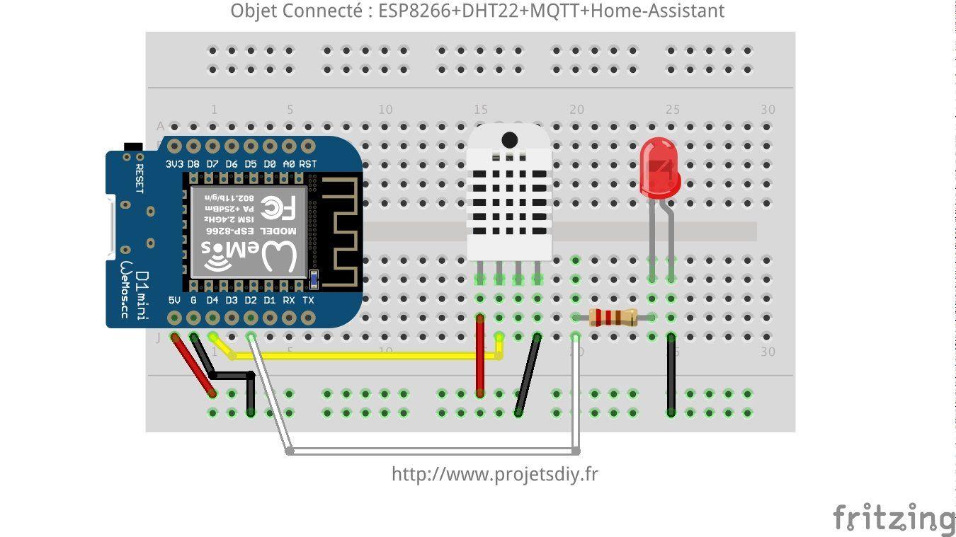 Iot object connecté domotique home assistant esp dht