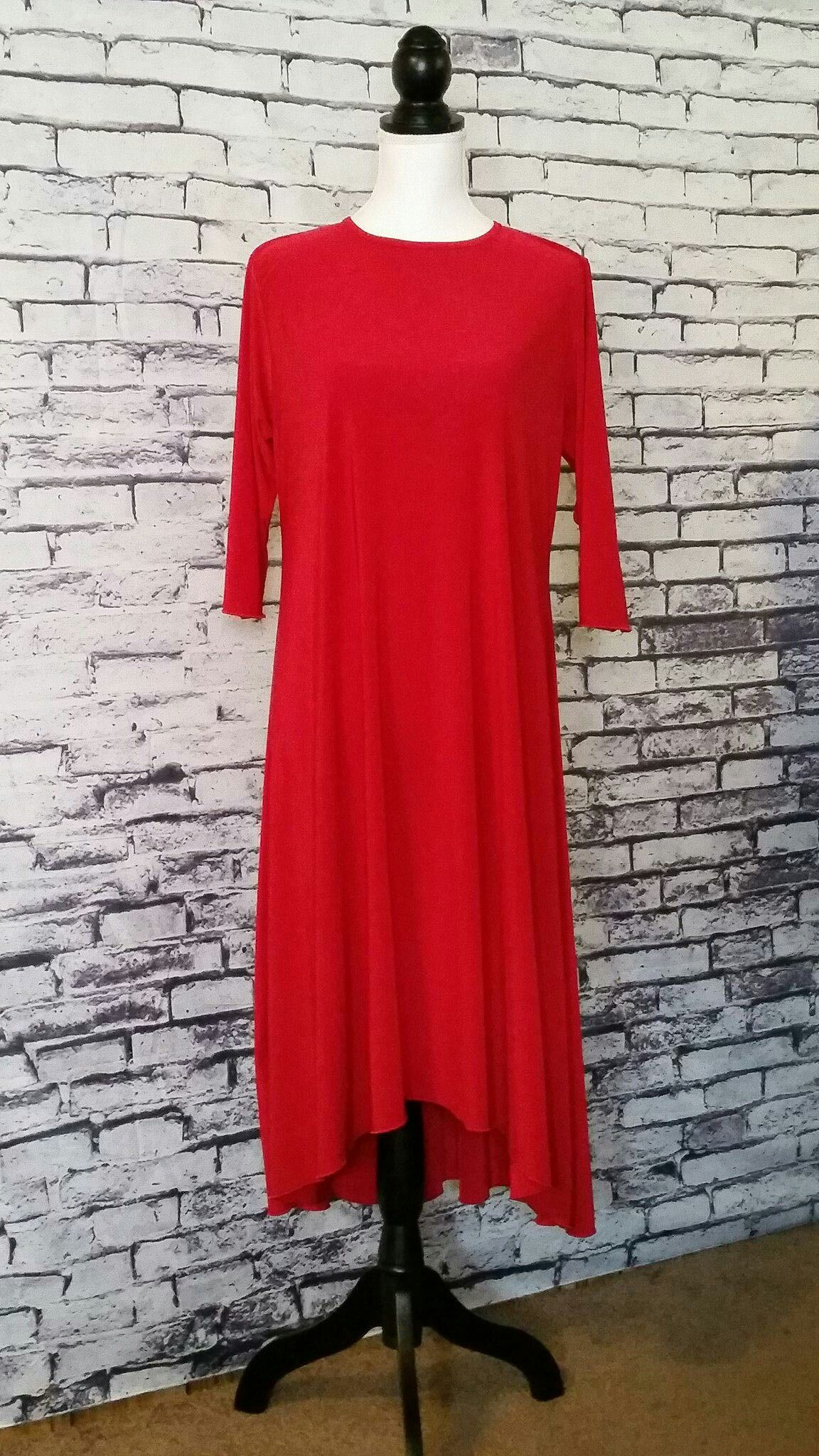 Hiloa dress length sleeve polyester red solid check us out