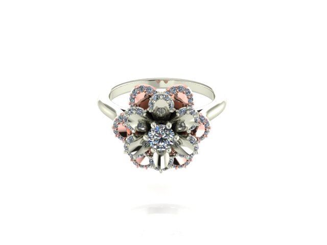 Engagement Ring White And Rose Gold Two Tone Natural Diamonds
