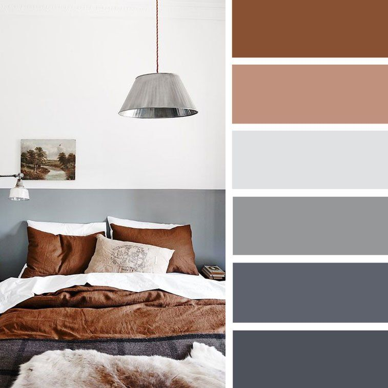 exciting gold brown bedroom decorating ideas | Brown gold + charcoal and grey color scheme for bedroom ...