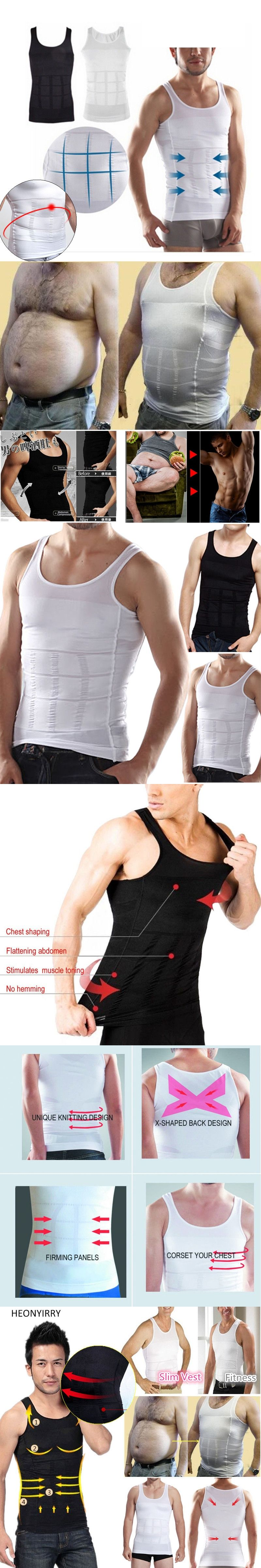 b36354d1b58a3 2017 Men Shapers Solid Sleeveless Firm Tummy Belly Buster Vest Control  Slimming Belt Hot Shaper Underwear