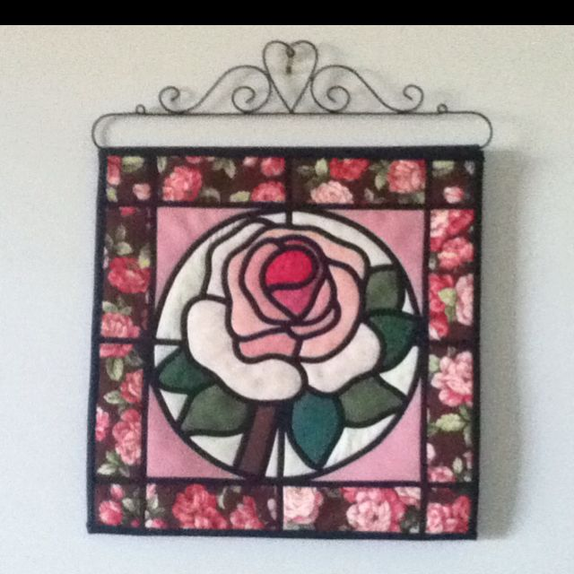 Quilted Rose Wall Hanging Stained Glass Effect Vitray Desenler Guller
