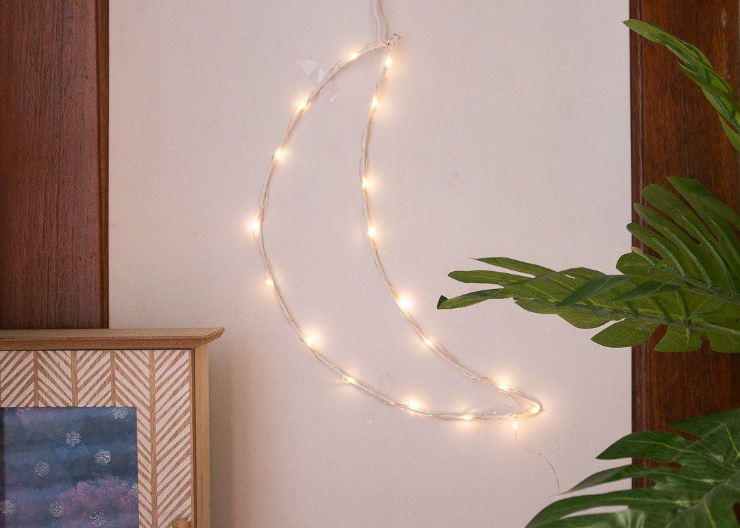 Diy Fairy Light Crescent Moon Urban Outfitters Inspired Shine Crafts Fairy Lights Diy Moon Decor Fairy Lights Decor