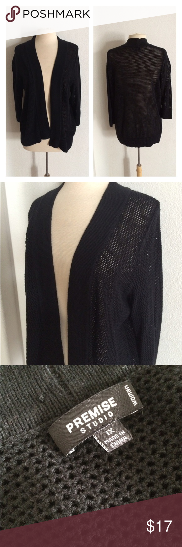 "FLASH SALE! Premise Studio black cardigan Premise Studio black open knit cardigan. Size 1x. Measures 28"" long. 60% cotton/40% rayon. This is in great used condition!  🚫NO TRADES🚫 💲Reasonable offers accepted💲 💰Great bundle discounts💰 Premise Studio Sweaters Cardigans"