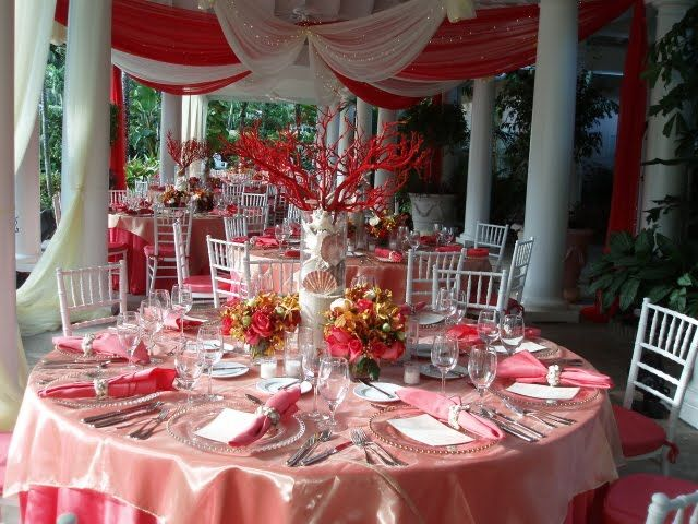 Beach Wedding with Unique Coral Centerpieces Our Sea Side