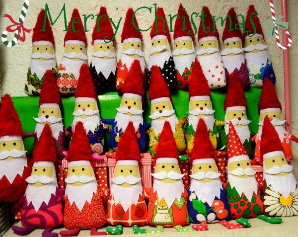 These whimsical christmas gnomes are ready for christmas! Each one is handmade and mostly made of recycled vintage fabric by Taikalandia