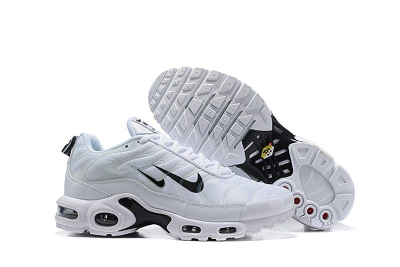 "32a8ce06ca5 Discount Nike Air Max Plus TN ""Overbranding"" 815994-004 Men s White Black  Sports Life Shoes"